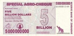 ZIMBABWE 5 BILLION DOLLARS 2008 P-61 UNC  [ZW152a] - Zimbabwe