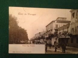 Cartolina  Saluti Da Viareggio Viale Ugo Foscolo Animata Viaggiata 1922 - Viareggio