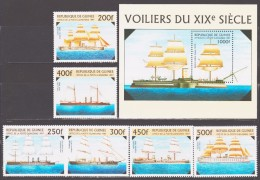 Guinea 1997 Mi 1638-1643 + Block 509(1644) Warships Of 19th Century / Kriegsschiffe Des 19. Jahrhunderts **/MNH - Bateaux