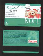 GIFT CARD - Carte Cadeau Auchan - NOEL Vert Clair - Date Limite Au Centre - 40 € - CE AUCHAN ENGLOS - Cartes Cadeaux