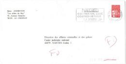 FRANCIA - France - 2001 - Marianne De Luquet Rouge + Flamme Attention + FD, Fausse Direction - Seul - Viaggiata Da Le... - Francia