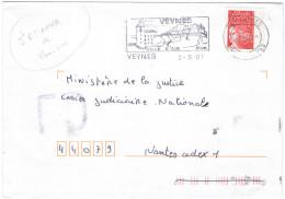 FRANCIA - France - 2001 - Marianne De Luquet Rouge + Flamme Ville D'Air + FD, Fausse Direction - Seul - Viaggiata Da ... - Francia