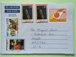 Jamaica 2000 Front Of Aerogramme To England - Bob Marley Music Guitar  - Plane Tail - Olympic Games Runners - Giamaica (1962-...)