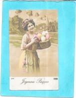 CPA COLORISEE FETE - JOYEUSES PAQUES - Adorable Petite Fille  Aux Gros Oeufs - ENCH0616 - Ostern