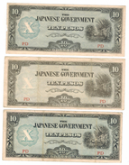 PHILIPPINES, 10 Pesos , X3 (PD). Jap. Occup. VF. Free Economic Ship. To USA - Philippines