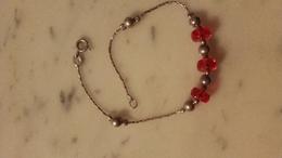 Bracelet,argent,silver,déco Perle Rouge - Bracelets