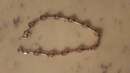 Bracelet,argent,silver,déco Perle Rose - Armbänder