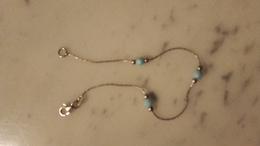 Bracelet,argent,silver,déco Perle Bleu - Armbänder