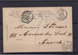 CP Timbre  TAXE  Cachet De Facteur 24 De Liege Vers Anvers - Postage Due