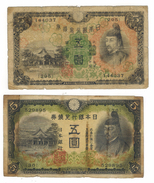 Japan, 5 Yen X2 Diff. Notes, Used, See Scan . Free Economic Ship. To USA - Japan