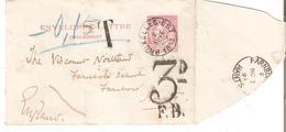 CL. N° 1 BRUXELLES-EST 2/11/1893 V.FARNBORO (Angleterre). TAXEE 3d / F.B. TB. - Letter-Cards