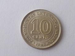 1 X 1943 MALAYA STRAIT SETTLEMENT KING GEORGE VI 10 CENTS SILVER COIN AU (WC-58-#2) - Singapour