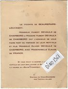 VP6497 - Faire Part De Mariage De Mr O.DEVAULX De CHAMBORD & Melle C. De FRANCE - Chateau Du Vieux Chambord Par TRETEAU - Mariage