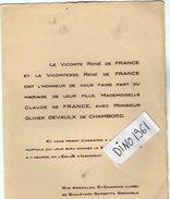 VP6498 - Faire Part De Mariage Melle C. De FRANCE & Mr O.DEVAULX De CHAMBORD - SAINT CHAMOND & GRENOBLE - Mariage