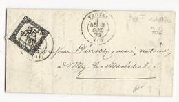 1872 - AUBE - 25c TAXE Sur LETTRE De TROYES Pour VILLY LE MARECHAL - Postmark Collection (Covers)