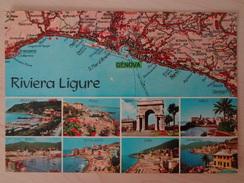 799 - Cartolina Riviera Ligure Carta Automobilistica Touring Club Italiano - Genova