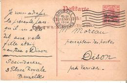 """EP. N° 3 BRUSSEL 13.XI.1914 - Censure """"MILITAR/UEBERWACHUNGSTELLE BRUSSEL"""" (Ham.Ludwig 1) RR. - [OC1/25] General Gov."""
