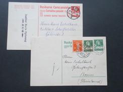 Schweiz 1922 / 23 Ganzsachen An Den Deutschen Schriftsteller Hans Eschelbach (Bonn) Social Philately!! - Schriftsteller