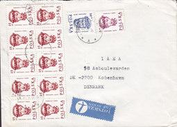 Poland LOTNICZA PAR AVION Label 1983? Cover Brief Denmark 10-Block Franking !! - 1944-.... Republik