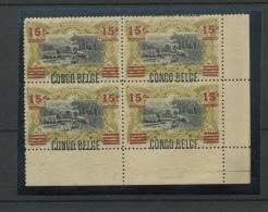 Congo Belge  87.A Bloc De 4 Coin De Feuille    Gomme Altérée (matte) *   Cote 360 Euros ( Considéré Avec Charnière) - Belgian Congo