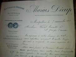 Facture Aux Caves De Roquefort Fromage Et Salaisons Marius Decup A Montpellier Annee 1903 - Alimentaire