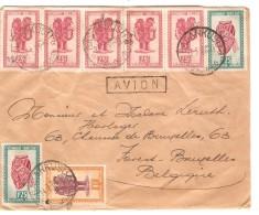 TP 280(5)-286(2)-282(2)-283(2)284(2)-285(2) S/L.Avion C.Basankusu 7/9/1948 V.Bruxelles PR3718 - Congo Belge