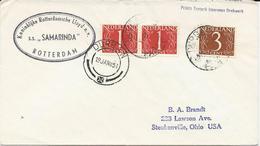 LETTRE 1954 POUR LES USA AVEC CACHET SS SAMARINDA - Lettres & Documents