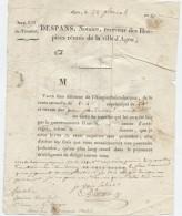 Agen,Hospice Saint-Jacques, Révolution An 13,rente,D'Arnaud ,meunier, Clermont Dessus,Soubiran, Marque Postale - Documenti Storici
