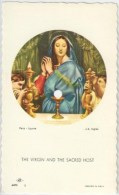 SANTINO  HOLY CARD - MADONNA / EUCARESTIA - Ediz: NB Nino Basevi - Arte 3 - Cromo, Fustellato,  *** - Santini