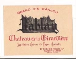 Etiquette  Grand Vin D'ANJOU - Rablay - Château De La Girardière - Côteaux Du Layon - Dr Rocher-Prieur - - Red Wines