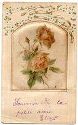 CARTE FANTAISIE Avec Roses Peintes Sur  Tissus Et Ajoutis Sur Le Haut, Cadre Embouti - Other