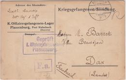 France Guerre 14/18 Carte En Franchise Pour Off PG Français Du Camp De PLASSENBURG KUHLBACH (Bavière), Cachet Du 5.12.17 - Oorlog 1914-18