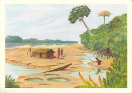 Afrique- GABON Sur L´Ogooué En Saison Sèche Hutte De Pêcheurs, D´aprés Peinture Grébert  (ilustration)*PRIX FIXE - Gabon