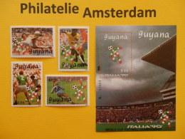 Guyana 1989, WORLD CUP ITALY 90 / FOOTBALL SOCCER VOETBAL FUSSBALL FUTBOL CALCIO: Mi 3059-62, + Bl. 58, ** - Fußball-Weltmeisterschaft