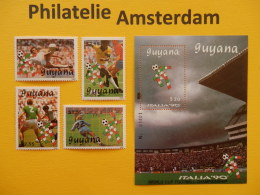 Guyana 1989, WORLD CUP ITALY 90 / FOOTBALL SOCCER VOETBAL FUSSBALL FUTBOL CALCIO: Mi 3059-62, + Bl. 58, ** - 1990 – Italië