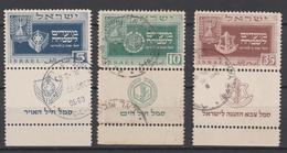 Israel 1949  Nr. 19 -21 Gestempelt, Die Nr. 20/10Pr. Ist In Der Ersten Perforation Ca. 1cm Eingerissen. - Israel