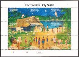 MICRONESIE- 1990 - Noêl -   Yvert 155/163 -  Neufs ** Feuillet - Micronésie