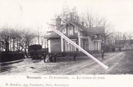 BOUWEL - De Tramstatie - La Station Du Tram.- Carte Très Animée Avec Tramways à L'avant Plan - Grobbendonk