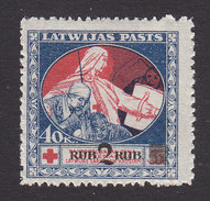 Latvia, Scott #B14, Mint Hinged, Mercy Assisting Wounded Soldier Surcharged, Issued 1921 - Lettonie