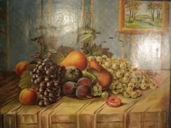 Tableau HST Nature Morte Aux Fruits Pommes Raisins Signée E. Haeffele 1946 - Huiles