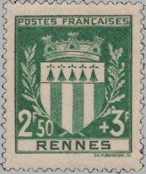 France 1941. ~ YT 534** - Armoiries De Rennes - France