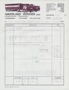 BELGIË/BELGIQUE :1985: Factuur Van ## GAVERLAND Vervoer, Gavere ## Aan ## N.V. Valcke & Zoon , Vlamertinge ## - Transportmiddelen