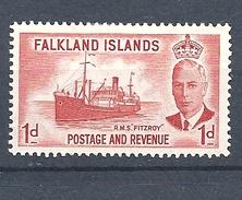 "FALKLAND ISLANDS 1952 King George VI - Local Motives  HINGED""Fitzroy"" (Supply Ship) - Falkland"