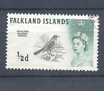 FALKLAND ISLANDS 1960 Queen Elizabeth II And Birds TURDUS FALKLANDICU USED - Falkland