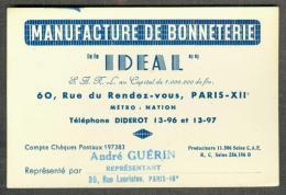 75 - Paris XIIème - Manufacture De Bonneterie IDEAL - Cartoncini Da Visita
