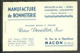 71 - Saone-et-Loire - Macon Manufacture De Bonneterie Robert Decaillot - Visiting Cards
