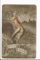 Carte Patriotique Militaire  1916 Victoire Coq Français  Bonne Année  ( Recto Verso ) Mauvais état - Patrióticos