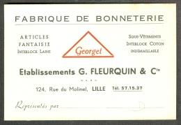 59 - Nord - Lille Fabrique De Bonneterie G. Fleurquin - Cartes De Visite