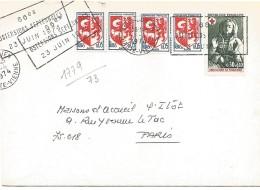 AFFRANCHISSEMENT COMPOSE SUR LETTRE DE SAINT JULIEN EN JAREZ (LOIRE) 1963 - Marcophilie (Lettres)