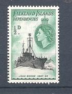 """FALKLAND ISLANDS DEPENDENCIES   1954 Ships        MNH        """"John Biscoe"""" - Falkland"""